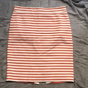J. CREW Striped Red/ White Pencil-Skirt